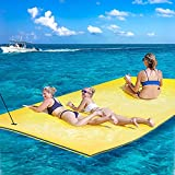 18FTx6FT Floating Water Mat Pad, 3-Layer Floating Mat Foam for Fun Water Party Water Recreation and Relaxing Rollable Lake Float for Pool Ocean (18FT, Sea Blues & Yellow)