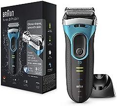 Braun Series3 ProSkin 3080 s - Afeitadora Eléctrica Hombre, Afeitadora Barba Inalámbrica y Recargable, Wet&Dry, Máquina de Afeitar, Recortadora de Precisión Extraíble, Negro y Azul + Base de Carga