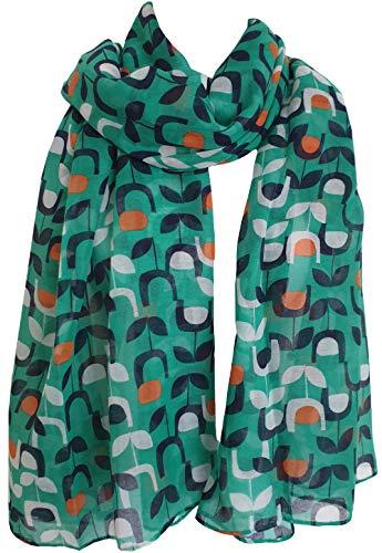 GlamLondon - Sciarpa da donna con stampa floreale Verde. 90