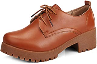Women's Chunky Platform Oxfords Shoes Wingtip Lace Up Mid Heel Casual Dress Wedge Oxford Brogue