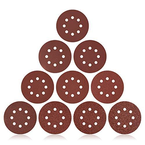 160 unidades de papel de lija de 125 mm para lijadora excéntrica, 8 agujeros, P60, P80, P100, P120, P150, P240, P320, P400, P600 y P1000