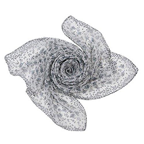 Monbedos Georgette materiaal sjaal roze veerpatroon sjaal voor dames lange sjaal strand zomer chiffon sjaal 150 * 50cm 160 * 50cm zwart-wit
