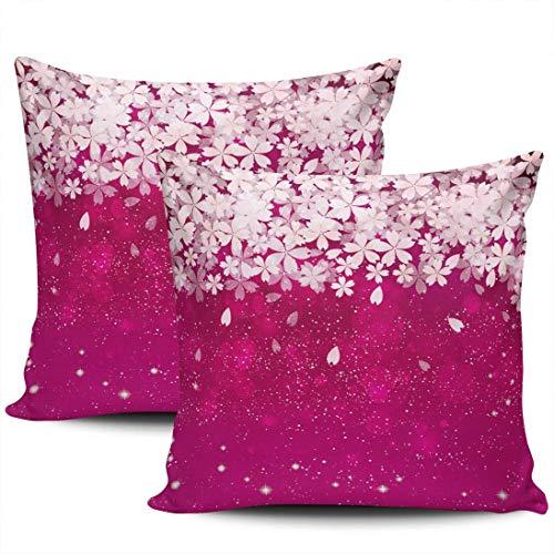 Home Decoration Throw Kissenbezüge Abdeckungen Kirschblüten Fuchsia und weiße Blumen Kissenbezüge 45 * 45cm 2er-Set