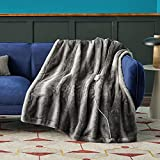 """Bedsure Faux Fur Heated Blanket - 50""""×60"""" Throw Size Low Voltage Electric Blanket, 4 Heating Levels & Auto Shut Off with 2/4/8/10 Hour, Embossed Plush Throw Blanket for Couch (Grey, 50""""×60"""")"""