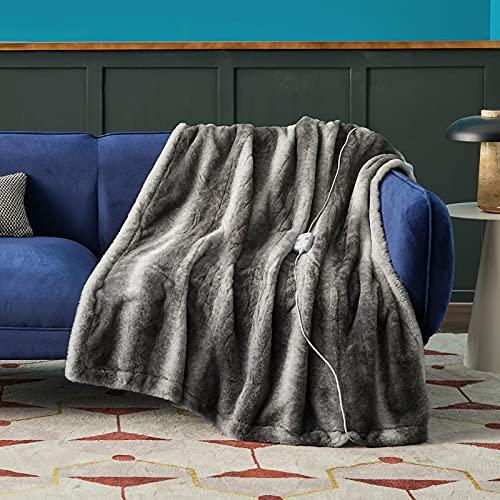 "Bedsure Faux Fur Heated Blanket - 50""×60""..."