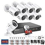 ANNKE Kit Sorveglianza 3MP DVR TVI 8 Canali 8 Bullet Camera 1080P HD TVI Telecamera di sicurezza con obiettivo da 3,6 mm, 66ft IR-Cut Chiara visione notturna, IP66 uso interno ed esterno 1TB HDD