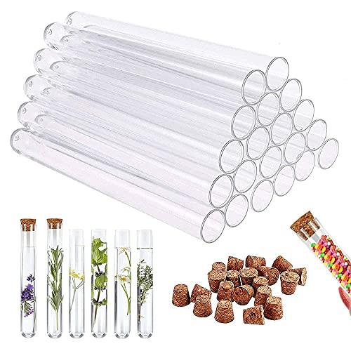 24 tubos de ensayo de plástico transparente con tapón de corcho para decoración de...