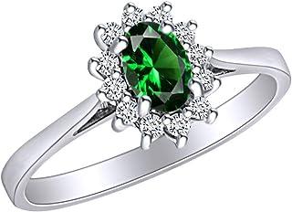 AFFY - Anello di fidanzamento in oro bianco massiccio 14 ct, con smeraldo sintetico e diamante naturale bianco da 0,45 car...