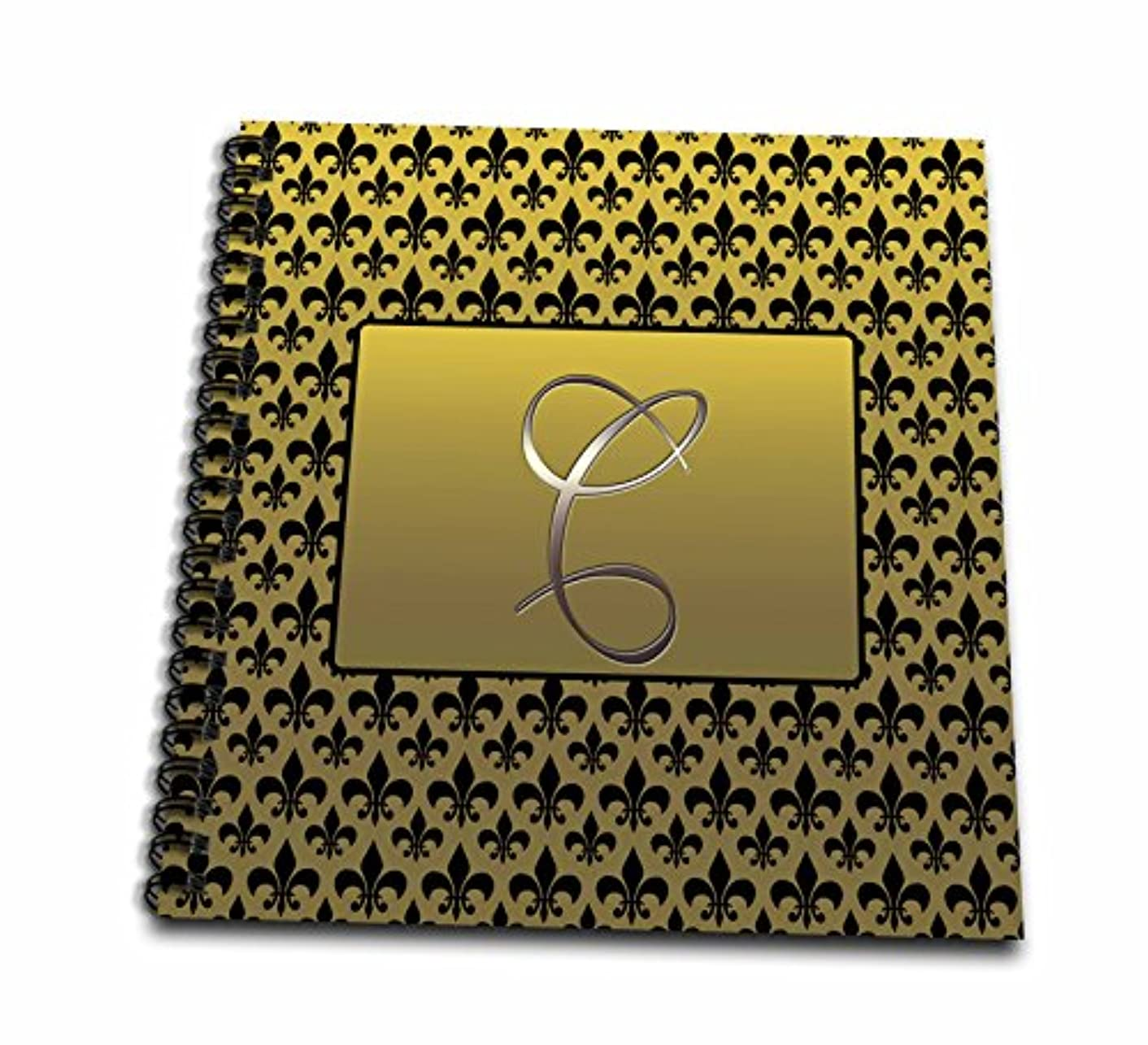 3dRose db_36081_1 Elegant Letter C Embossed in Gold Frame Over a Black Fleur-De-Lis Pattern on a Gold Background-Drawing Book, 8 by 8-Inch