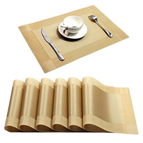 U'Artlines 6er Set Platzsets Hitzebeständigen Waschbaren Vinyl Tischsets 30 * 45cm Gold