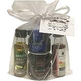Detalle para bodas con miniaturas de aceite de oliva, vinagre de Jerez D.O, mermeladas de cereza y de arándanos (Pack 24 ud)