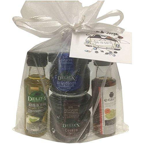 Detalle para bodas con miniaturas de aceite de oliva, vinagr