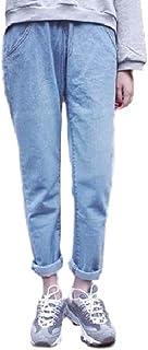 (フアングー) huanggu レディース ボトムス パンツ デニム ボーイフレンドデニム ダメージ クラッシュ ロールアップ ウエストゴム リラックスパンツ 選べる2色 S M Lサイズ