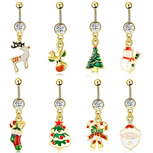NASAMA 8 Pcs Christmas Dangle Belly Button Rings