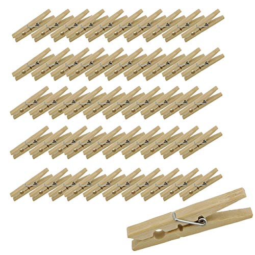 7Penn Wood Clothes Pin 50-Pack Bulk Set - Wooden Clothespins for Pictures Laundry Etc - Clothesline Clips Craft Pins