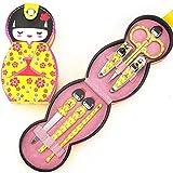6 Piezas Set Muñeca Japonesa Cuidado De Uñas Clipper Manicura Pedicura Acero Inoxidable Material Tijera Lima De Uñas, Amarillo