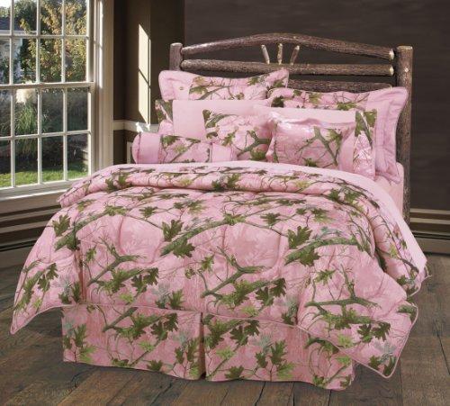 HiEnd Accents Oak Camo Comforter Set, Queen, Pink