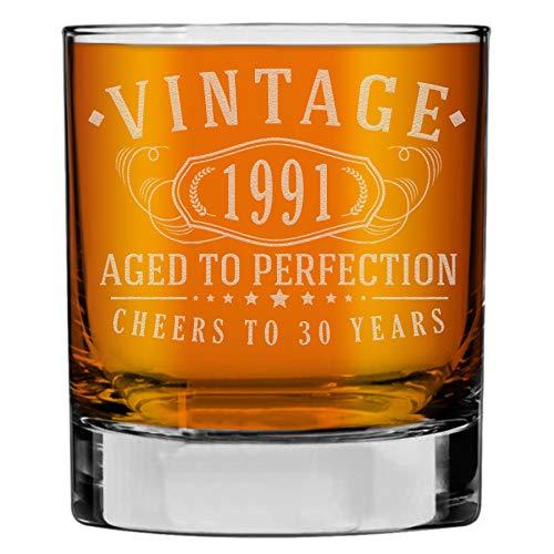 Whiskey Rocks Glas im Vintage-Stil von 1991, geätzt, 290 ml, zum 30. Geburtstag
