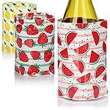 COM-FOUR® 3x Flaschenkühler für unterwegs - Weinkühler Manschette mit Sommer-Motiven - Kühlmanschette für Bier, Wein und Softdrinks - Sektkühler [Auswahl variiert]