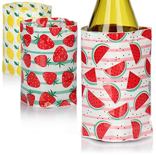 COM-FOUR® 3x Flaschenkühler für unterwegs - Weinkühler Manschette mit Sommer-Motiven - Kühlmanschette für Bier, Wein und Softdrinks - Sektkühler [Auswahl variiert] (03 Stück - 32.5 x 15 cm)