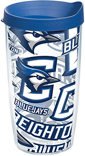 Tervis Creighton Bluejays All Over Tumbler with Wrap and Blue Lid 16oz, Clear