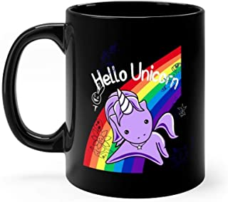 Hello Unicorn (Doodle Graffiti) Most Accurate Altered Carbon - Hello Unicorn Mug 11 oz Black Ceramic Funny Design Coffee Tea Mug Novelty Gift For Men Women