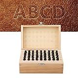 36Pcs Juego de Números de 4mm de Acero al Carbono con Letras y Números Punzón de Sello para Papel, Cuero, Plástico, Madera y Metal