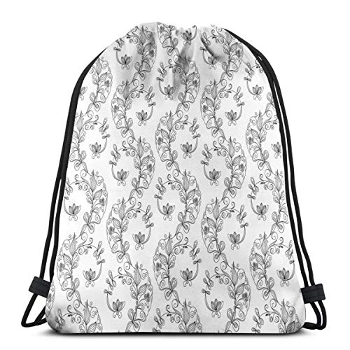 Printed Drawstring Backpacks Bags,Scroll And Swirls Pattern With Tiny Stems Full Of Leaves And Lilies,Adjustable String Closure