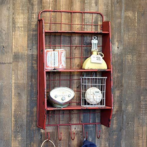 Repisa flotante repisa de metal de 3 capas estante de metal partición de metal creativo estante colgante decorativo LOFT decoración de pared de estilo industrial (Color: ROJO) estante de almacenamient