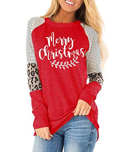 Women Christmas Shirts Long Sleeve Leopard Print Tunics Tops (Large, 07 S Red)