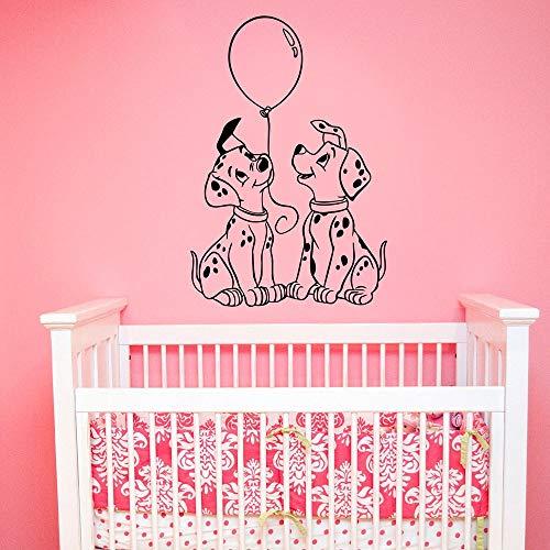 Calcomanías de pared dálmata perro de dibujos animados para mascotas globo puertas y ventanas pegatinas de vinilo dormitorio de niños guardería decoración de interiores papel tapiz arte