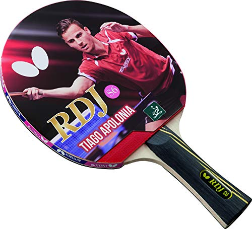 Butterfly RDJ S6 ITTF Approved Wood Table Tennis Racket with Thick Sponge for Better Speed - Red and Black