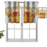 Cortinas pequeñas para ventana de cocina con cenefas de corona real con símbolo de imagen imperial, juego de 2, 42 x 24 pulgadas para cocina, ventana, baño y cafetería.