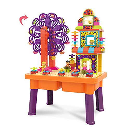 Bloc de construction table de jouets Multi-fonctionnel Building Block Wooden Block Toy Table 3-6 Ans Grandes Particules Building Blocks Assemblé Jouet Table table de stockage de blocs de construction