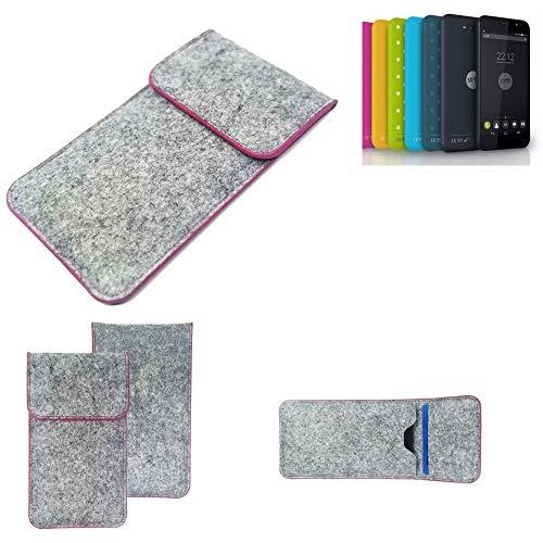 K-S-Trade® Handy Schutz Hülle Für Shift Shift4.2 Schutzhülle Handyhülle Filztasche Pouch Tasche Case Sleeve Filzhülle Hellgrau Pinker Rand