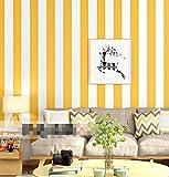 Rayas verticales amarillo cálido moderno minimalista dormitorio sala de estar TV fondo papel de pared