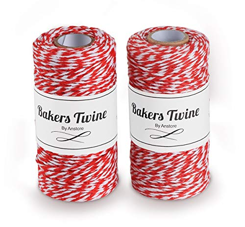 Anstore 200m Rot und Weiß Bindfäden, Baumwolle Bäcker Schnur Ideal zum Backen, Fleisch anrichten, Handarbeiten, Geschenke Verpacken an Weihnachten