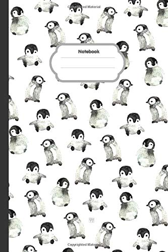 Watercolor of Penguin Notebook: Smart Penguin Lined Notebook (Composition Book Journal) (6x 9 inches) - 100 pages.