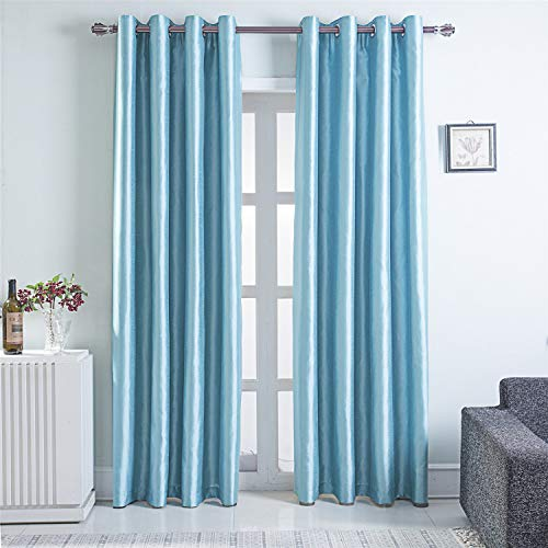 GYROHOME Faux Silk Blackout Curtains, Fully Lined Solid Color Window Treatment Drapes for Bedroom and Living Room Thermal Insulated Grommet Top Room Darkening Drapes, (Light Blue, 52x84, 2 Panels)