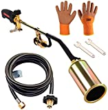 Propane Torch Weed Burner Kit ,Weed Torch With Push Button Igniter and 9.8 ft Hose , Outdoor Torch Kit High Output 500,000 BTU-Ideal for burning weeds, melting ice and snow,heating asphalt