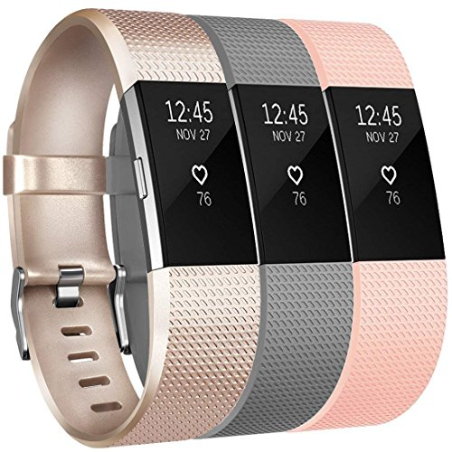 Yandu for Fitbit Charge 2 Strap(3 Pack), Replacement Watchbands Soft Comfortable Accessory Straps for Fitbit Charge 2 (02, 3PC(Champagne+Gray+Blush Pink), S)