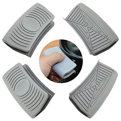 Ceqiny 2 pares de asas silicona para ollas agarraderas para ollas agarres para cocinar agarres para wok utensilios de cocina mango de silicona para ollas de hierro fundido sartenes planchas, gris