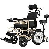 JHUEN Silla de Ruedas eléctrica, Plegable Motor Doble 250W * 2 Ancho de Asiento 45Cm Joystick 360 ° Adaptarse a una Variedad de pavimentos Ancianos discapacitados (Oro)