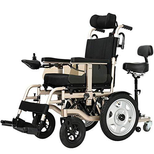 Ancianos Discapacitados Silla de Ruedas Eléctrica de Servicio Pesado, Silla de Ruedas Motorizada Plegable 250W * 2 Ancho del Asiento del Motor Doble 45Cm 360 ° Joystick Adaptarse a una Varieda