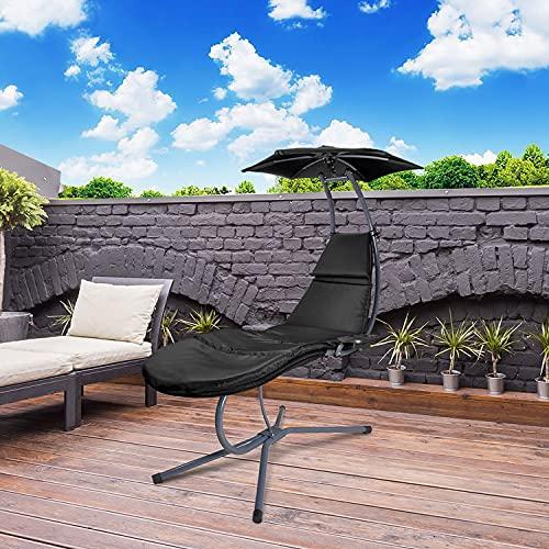 RANSENERS® Schaukelliege Sonnenliege Gartenliege Relaxliege mit Verstellbarer Sonnenschirm und Getränkebecherhalter, bis 160kg belastbar, mit Deutschem TÜV-Bericht, Schwarz - 4
