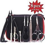 QFUN DIY-Werkzeug-Kit mit für Reparatur oder Werkzeug-Kit Spule-Jig-wickelset, Keramik-Pinzette, Spulen-Set, Drahtschneider, Klapp Schere, Spulen Bürste, Schraubenzieher,Set Als Geschenk 8 in 1