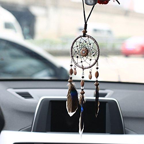KAYI Mini Dream Catcher für Auto Perlen natürliche Federn und handgemachte grau Webart Web mit Kraft Geschenk kommen