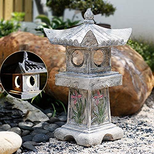 JJDSN Estatua al Aire Libre de la Linterna de la Pagoda de la decoracin asitica, Escultura del jardn Impermeable Solar Sagrada, estatuilla Antigua para el csped del Patio A