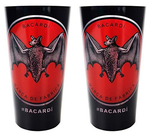 Bacardi Rum Longdrinkglas Kunststoff LED, BELEUCHTET BEI BEFÜLLUNG, Longdrink Glas Gläser Set - 2X Longdrinkgläser