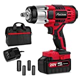 20V MAX Cordless Impact Wrench with 1/2'Chuck, Max Torque 330 ft-lbs, 3.0A Li-ion Battery, 4Pcs Driver Impact Sockets, 1 Hour Fast Charger and Tool Bag, Avid Power